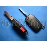 VOLKSWAGEN выкидной ключ (корпус), 2 кнопки + 1 кнопка (PANIK), под батарейку CR1616